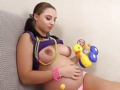 Preggo Alyssa Pulverizes Herself with Childrens Fucktoys