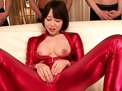 japanese bodysuit cosplay babe sucking cock