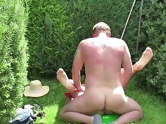 German Father Tempt Step-Daughter to Pummel in the Garden