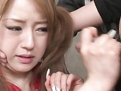 Ponytailed asian japanese babe gets  facial