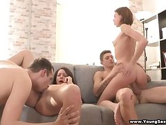 Nubile dolls sharing rock-hard dicks