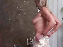 Blonde Granny anal invasion boinked by a ebony big cook