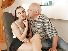 DADDY4K. Elderly gentleman easily seduces beautiful red-haired to..