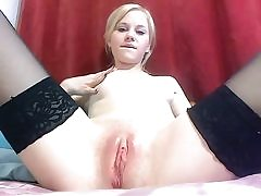 Hot light-haired sucks fuck stick and demonstrates pussy