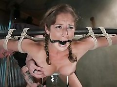 Pigtailed bondaged stunner gets disciplined rock hard