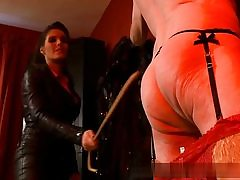 Old guy all bare and mischievous is prepared to obey his domina on video